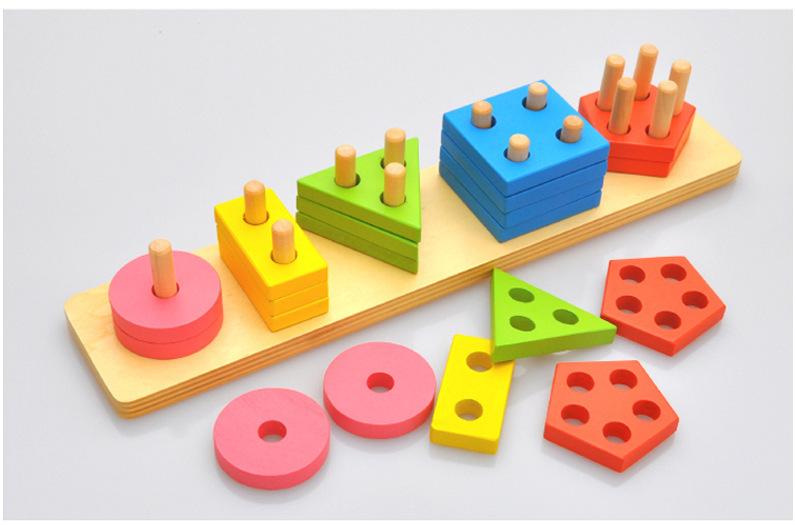 Montessori Toys Wooden Blocks Geometry Shape Model Building Kits Children Educational Toy Wood Building Blocks 3