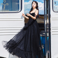 2019 Summer Black Long Women Dress Elegant Mesh Evening Party Short Sleeve Off The Shoulder Maxi Dress Female Vestido Sexy Dress