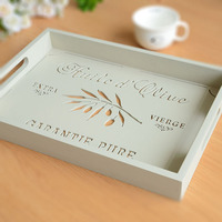 European Style Hallow Wooden Serving Tray Candy Dish Coffee Milk Tea Trays Cup Plate Storage Kitchen