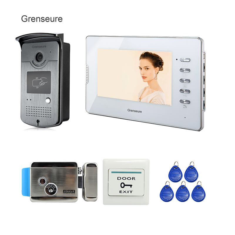 FREE SHIPPING Home 7 Color Screen Video Door Phone Intercom System 1 RFID Access Camera + 1 White Monitor + Electric Door Lock трия тумба под телевизор мики тип 2 дуб сонома венге цаво пм 155 02