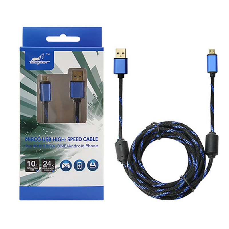 For PS4 3 Meters Charging Cable USB Charging Cables For PS4/XBOX ONE Gamepad