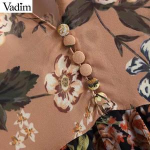 Image 4 - Vadim kobiety V neck z kwiatowym wzorem z szyfonu sukienka plisowana przepuszczalność z długim rękawem vintage kobieta szyk retro sukienka do połowy łydki vestidos QA763