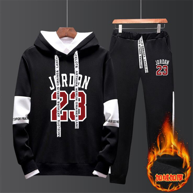 Men Jordan 23 Tracksuits Large Size 4XL Outwear Hoodies Sportwear Sets Male Sweatshirts Cardigan Men Set Clothing+Sweatpants 2