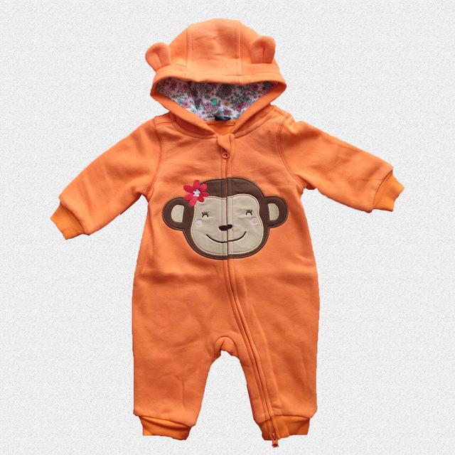 Outono Roupas de Bebê Menino Macacão de Recém-nascidos Crianças Grossas Roupas de Inverno Uma Peça Macacão de Bebê Roupas Menina Com Capuz Pijamas