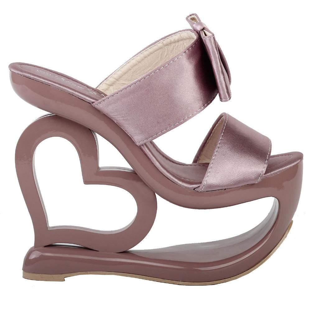 LF40201 Retro Smoke Pink Bow Heart Heel Wedge Wedding Slip ons Sandals Sz 4 5 6