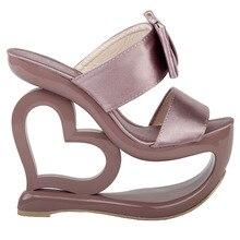LF40201ย้อนยุคควันสีชมพูโบว์หัวใจส้นลิ่มแต่งงานใบ-onรองเท้าแตะSz 4/5/6/7/8/9/10
