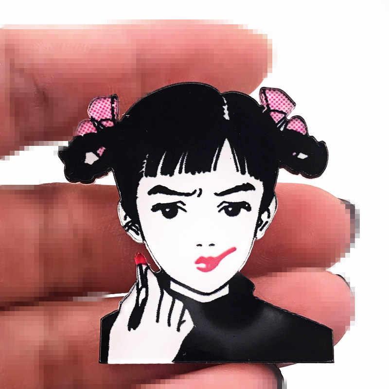 1 Pcs Hot dan Toko Anak Perempuan dengan Crookes Lipstik Ikon Bros Wanita Cantik Acrylic Lencana Pin untuk Gadis Ulang Tahun Hadiah Tas dekorasi