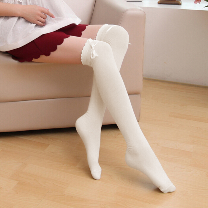 6e62ad02af1d7 Detail Feedback Questions about Harajuku Women Cotton Stockings Sexy Over  The Knee Socks Thigh High Long Socks Cute Bowknot Lace Up Socks Girls Ladies  5 ...