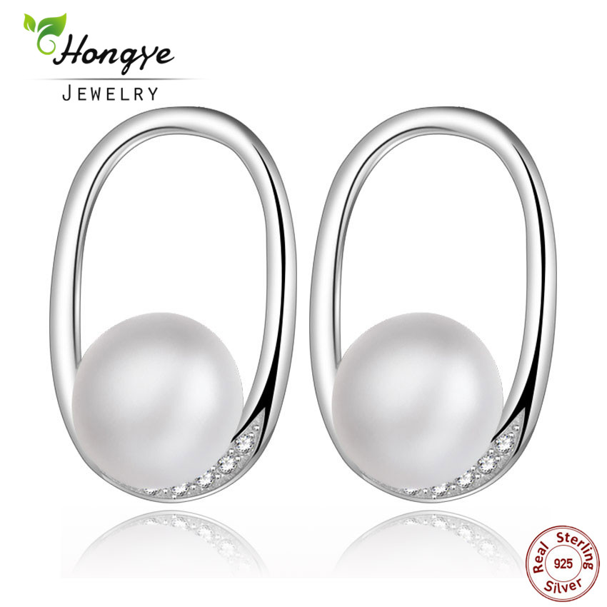 Hongye Hot Sale Fashion Pearl Stud Earrings New Natural 8-9mm White Freshwater Pearl Earrings for Wedding Jewelry Gift Box