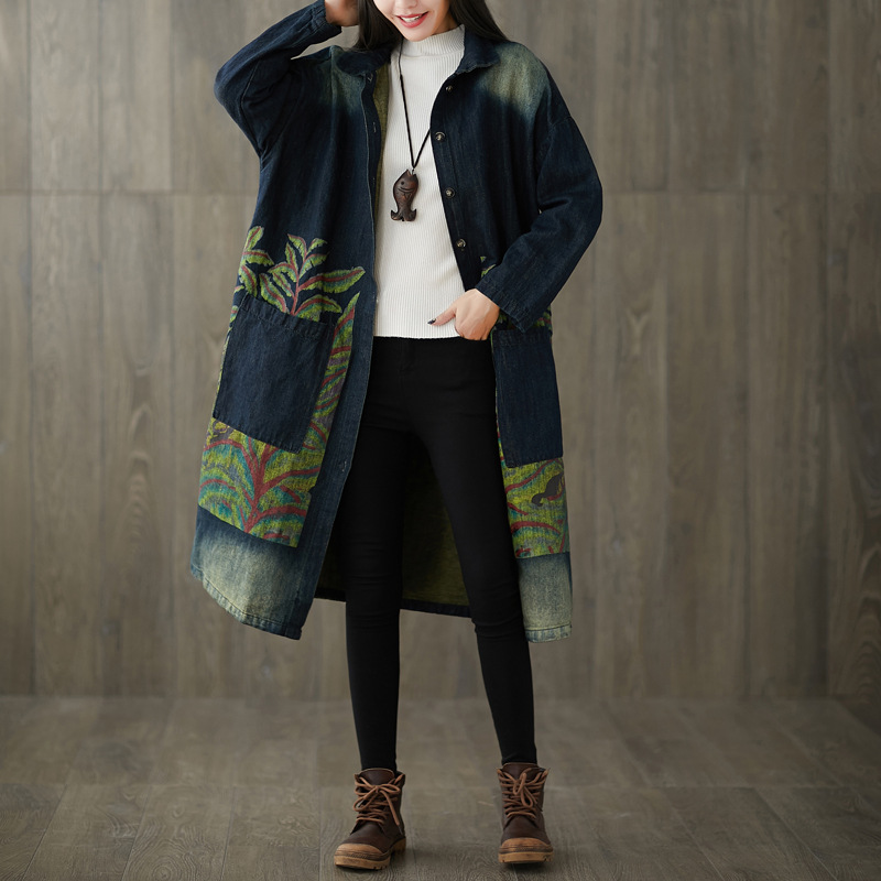 Women Loose Printed Denim Trench Coat Outwear Ladies Vintage Single Breasted Overcoat Female Bleached Denim Coat