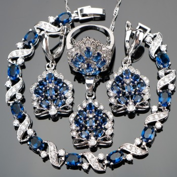 Silver 925 Blue Zircon Jewelry Sets
