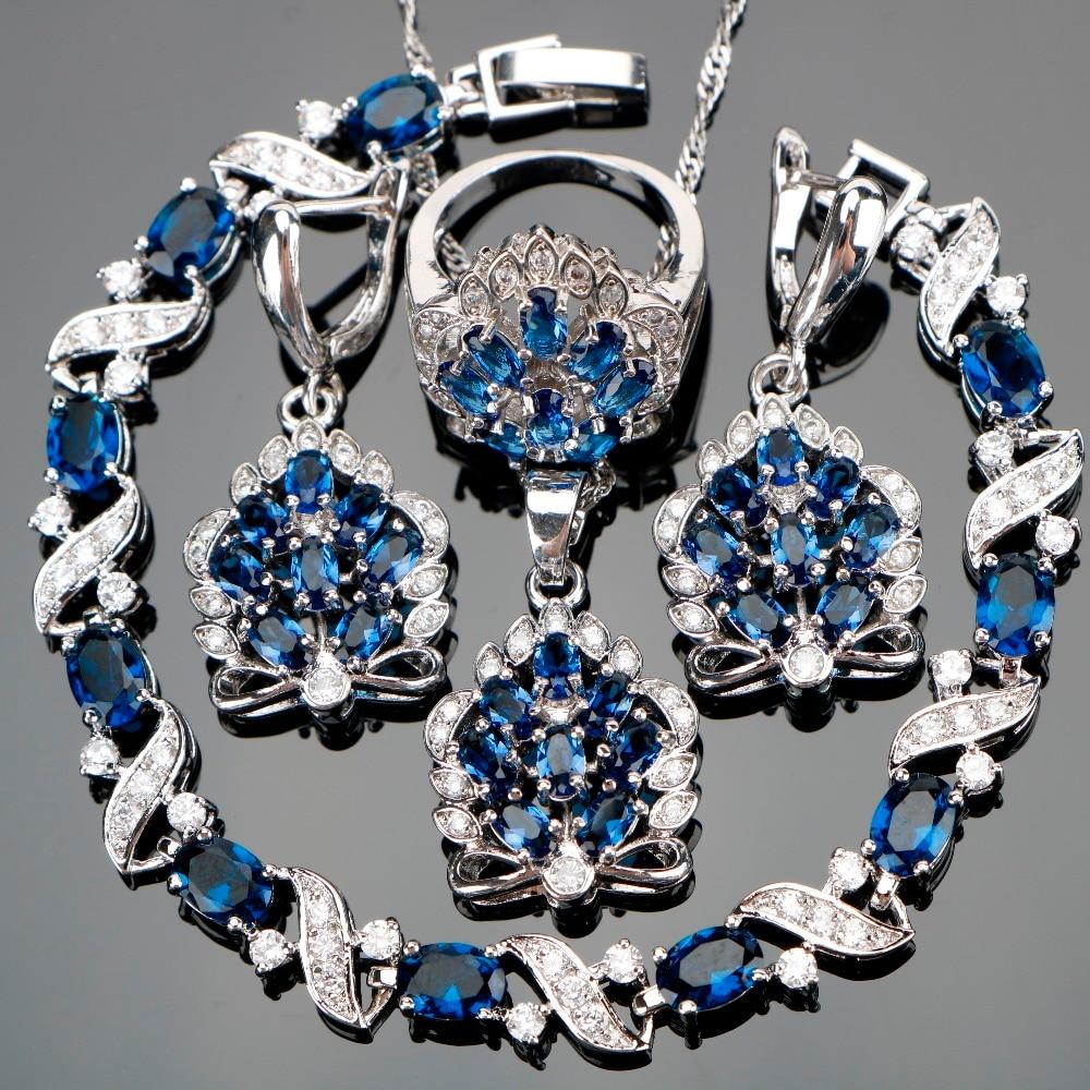 все цены на Silver 925 Blue Zircon Jewelry Sets Women Wedding Jewellery With Stones Earrings Pendants Necklaces Rings Bracelets Set Gift Box