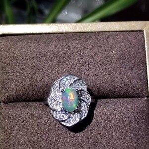 Image 1 - Tự nhiên opal phụ nữ nhẫn thay đổi màu lửa bí ẩn 925 bạc có thể điều chỉnh kích thước