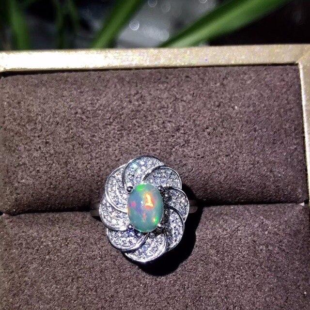 Tự nhiên opal phụ nữ nhẫn thay đổi màu lửa bí ẩn 925 bạc có thể điều chỉnh kích thước