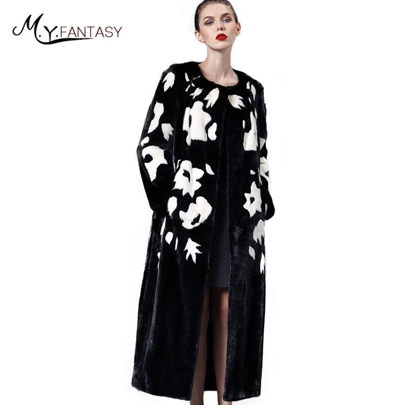 M. y. FANSTY Inverno 2019 di Importazione di Vera Pelliccia di Visone Cappotti Cappotto Della Stampa del O-Collo delle Donne X-Lungo Nero A Contrasto di Colore Bianco causale Cappotti di Visone