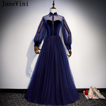 JaneVini Vintage Navy Blue Long Sleeve Plus Size Prom Dresses 2019 High Neck A Line Floor Length Cheap Tulle Dress Vestidos Gala