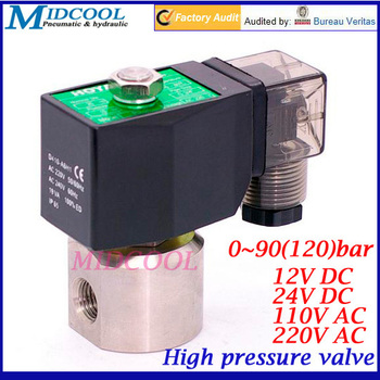 """Stainless steel high pressure solenoid valve 1/4"""" 2 way normally close 12V DC 0-90(120) bar"""