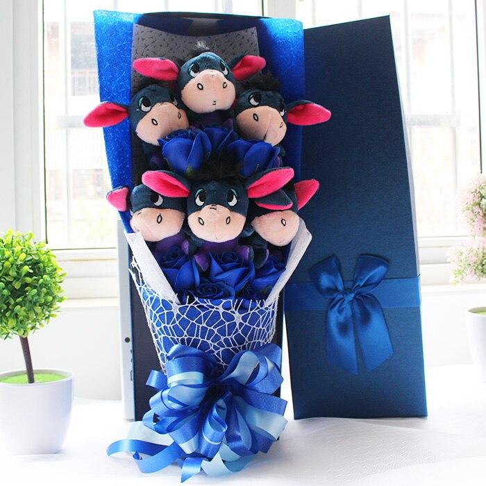 48 cm PP Coton Bourriquet Âne avec savon de bande dessinée de fleurs bouquets Trucs Animaux Jouets En Peluche Créative Valentine Cadeau De Graduation