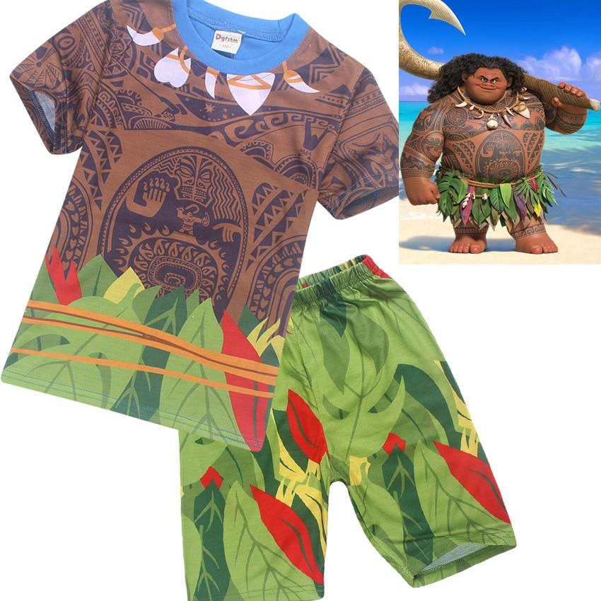 цены на 2017 New Cartoon Moana clothes boys clothing cotton pajamas set Maui costume 2 piece set в интернет-магазинах