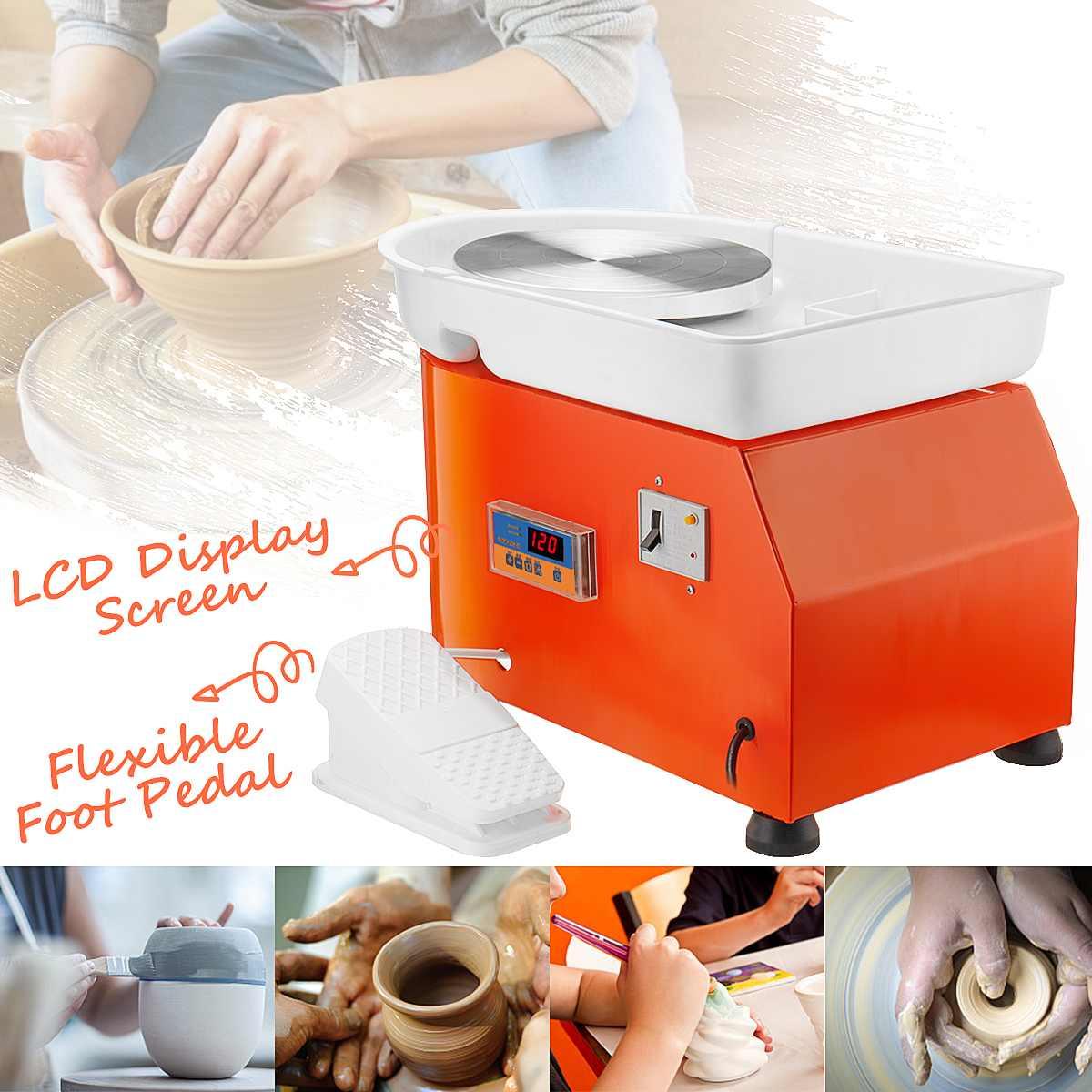 300 W AC 110 V/220 V poterie roue Machine en céramique travail argile Art Flexible pédale LCD contrôle 42x52x35 cm métal + alliage d'aluminium
