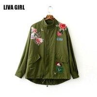 Unlined Zipper Basic Jacket Coat Women Jacket 2017 Autumn Winter 3d Applique Oversized Casual Outwear Coats