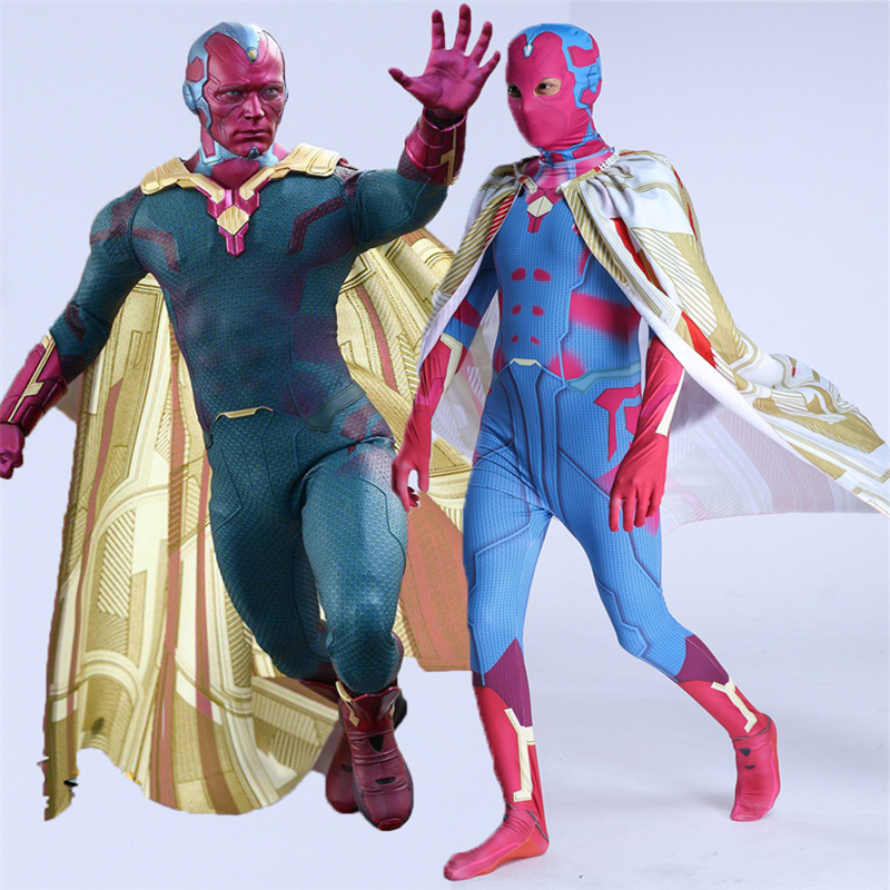 Adult Men Kids Avengers Infinity War Vision Cosplay Costume 3D print Zentai Superhero Bodysuit Suit Jumpsuits Cloak mask Cosplay