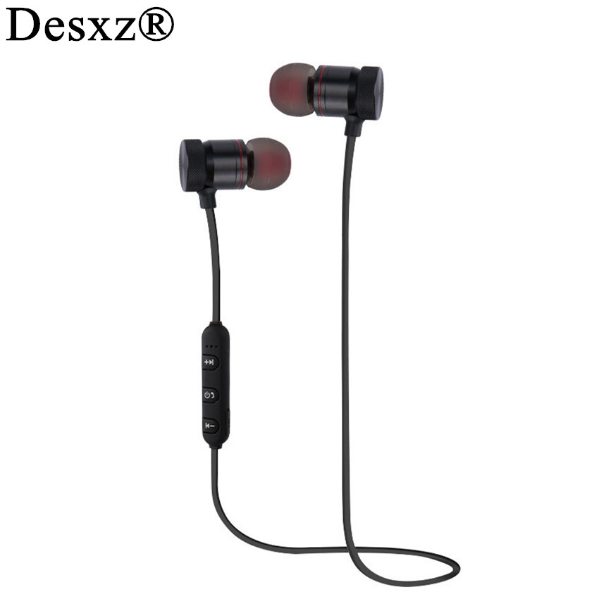 Desxz bluetooth earphones H6 earbuds metal sports headphones wireless active noise cancelling Headset for mobile phone airpods edal 2017 new mini bluetooth wireless invisible earbuds earphones noise cancelling headphones headset