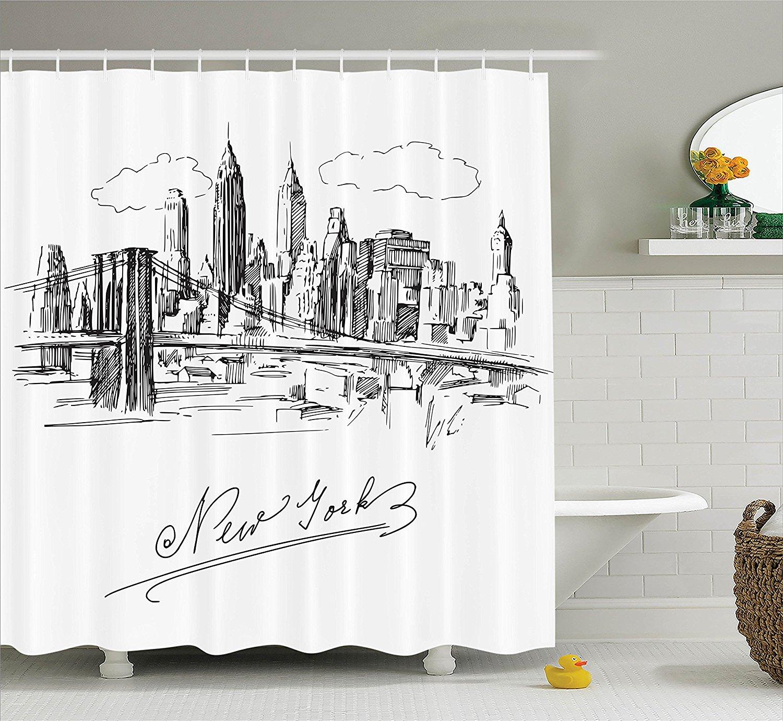 online get cheap contemporary shower curtain aliexpresscom  - new york contemporary business metropolis corporate town monochromic sketch polyester fabric bathroom shower curtain s
