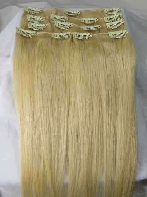 """28 mujeres """" 32 """" Remy pelo humano recto clip en extensiones venta al por mayor 10 unids/set 140 g Light Blonde #613"""