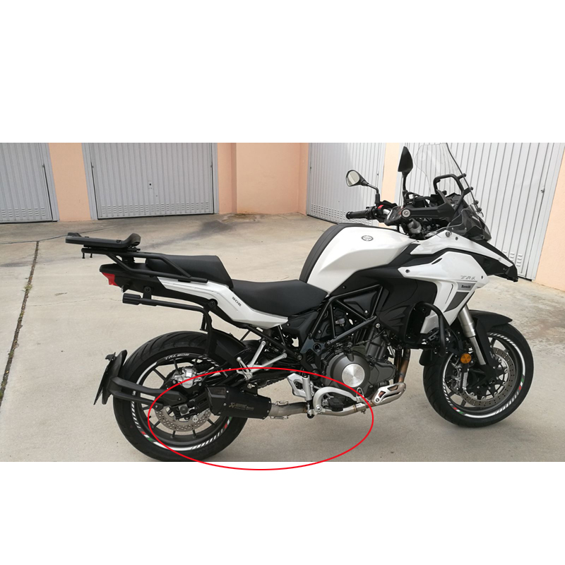 Full System Exhaust Escape Modified Carbon fiber Muffler With Front Link Pipe Slip on For Benelli TRK 502 in Exhaust Exhaust Systems from Automobiles Motorcycles