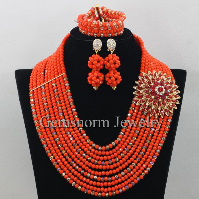 4df8e4d1c89c Últimas africano Cuentas fijó la joyería nupcial oro cristal Cuentas traje  set envío libre wb833