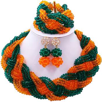 Ethnic African Army Green Orange Women Crystal Beads Anniversary Necklace Jewelry Sets 12C-BZ-02