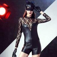 2016 dành cho người lớn wet look vinyl leather cát trang phục màu đen dài tay áo ren chắp vá của phụ nữ catsuit romper halloween fancy dress