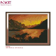 NKF Cross Stitch Kits Printed Fabric 11/14CT Evening Landscape Needle Crafts DIY Handmade Gift Wall Painting