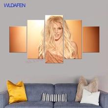 Hd beauty-5 pedaço da arte da lona de arte da música impressão cartaz britney lanças de parede arte da parede da lona fotos para sala de estar enquadrado impressões