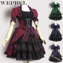 WEPBEL женское платье винтажное Cos короткая с рукавом-фонариком Ретро Повседневная мода оборки леди в европейском стиле мини платья