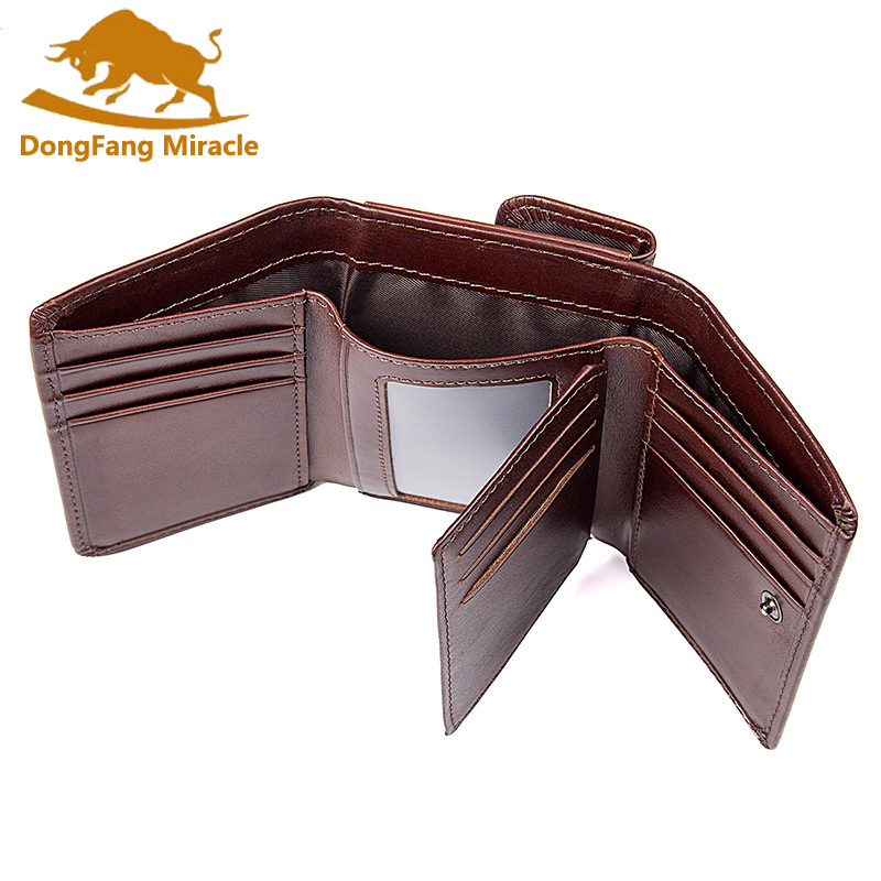 Genuine Cow Leather Men Wallet Vintage Casual Coin Pocket Brand Short Men Purse High Quality Male Card ID Holder RFID Wallet