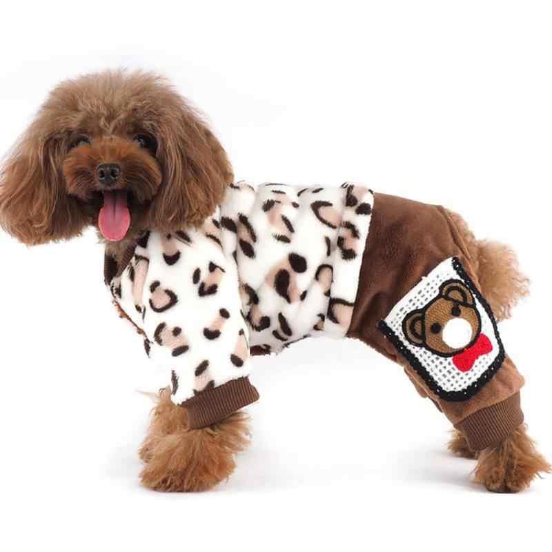 Herfst Winter Hond Warm Doek Levert Hond Luipaard Gedrukt Jumpsuits Comfortabele Truien met Schattige Beer Huisdier Katoenen Doek