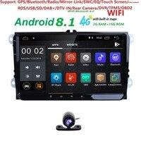 2Din 4G Android8.1 Car Stereo Radio 9 Inch HD 1024*600 Screen QuadCore Monitor GPS For V W Passat Golf Polo CC J etta Skoda Seat