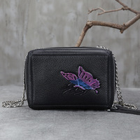 2017 New Women Leather Handbags First Layer Cow Leather Retro Shoulder Crossbody Bag Butterfly Fashion Female