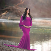 New Style Maternity Photography Props Maxi Maternity Gown Cotton Maternity Dress Maternity Fancy Photo Shooting Pregnant