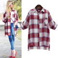 Big Yards Autumn Women Blouses Long Shirts Single Breasted Plaid Cotton Shirt Wild Casual Streetwear Women Plus Size Blouse