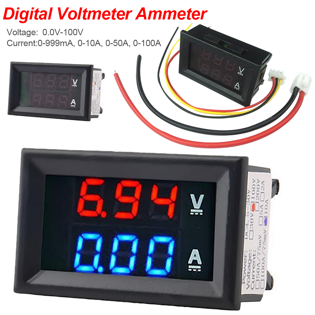 Digital DC Voltmeter Ammeter 3 Bit DC 100V 10A Voltage Current Meter Power Supply 0.56