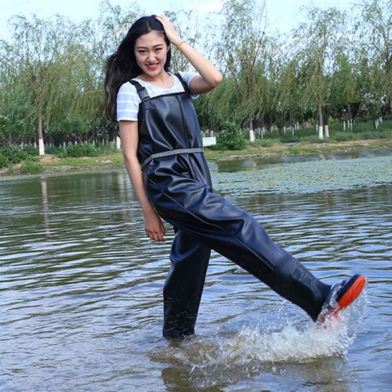 Cuissardes respirantes unisexes noires de saut en hauteur pour la pêche imperméable epaissir 0.8mm PVC hauteur de poitrine poche + ceinture chasse poissons salopette