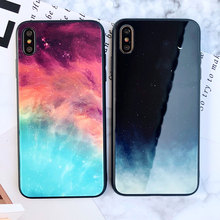 цена на Starry Sky Glass Case For iPhone X XS XR Xs Max 7 Plus 8 Plus Case Hard Phone Cover For iPhone 6 6S Plus 6  Plain Glossy Cases