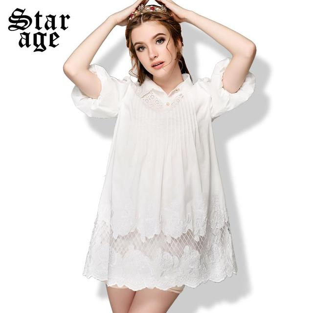 S 5XL Plus Size Women White Lace Embroidery Dress Big Size Short ...