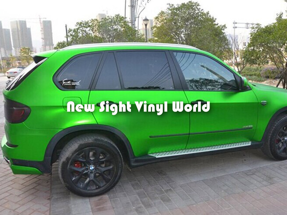 Высококачественная матовая Зеленая атласная металлическая виниловая зеленая Матовая атласная металлическая оберточная пленка для автомобиля