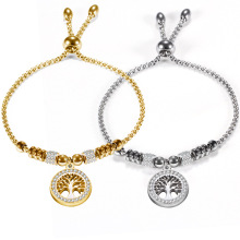 Simple adjustable lady bracelet, titanium steel zircon life tree fashion jewelry accessories wholesale,ZJ1001