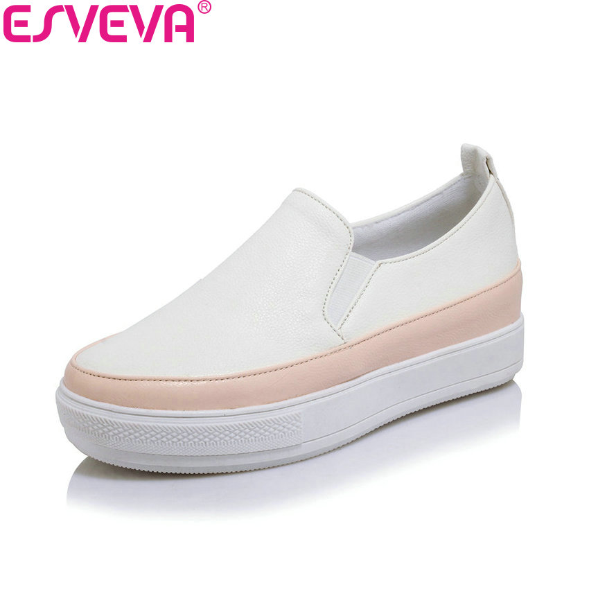 ESVEVA 2018 Women Flats Shoes Comfortable PU Casual Flats Shoes Spring Autumn Slip on Round Toe Ladies Loafers Shoes Size 34-43 women loafers casual shoes female round toe slip on wide shallow flats lady shoes oxford spring summer shoes for women or910314