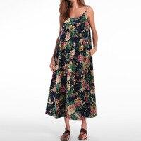 Celmia Summer Vintage Floral Print Women Spaghetti Strap Cotton Linen Holiday Mid Calf Dress Baggy Beach
